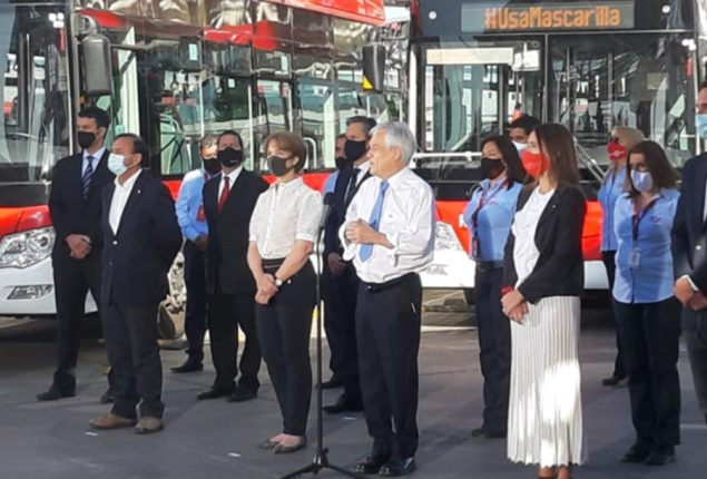President Piñera launches the el Conquistador electroterminal, the largest of its kind in the country and that will supply Red buses in the Metropolitan Region