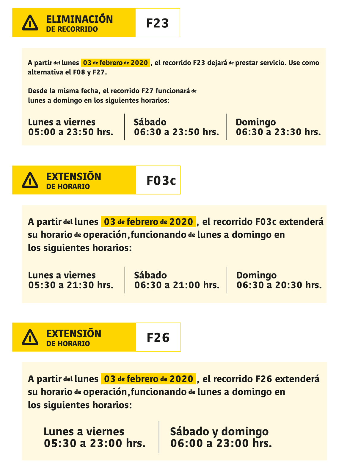 F23 route extension poster and schedule extensions for F03c and F26 routes.